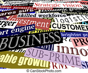 Business headlines - Illustration of business-related...