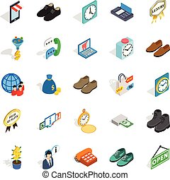 Business help icons set, isometric style