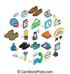 Business help icons set, isometric style