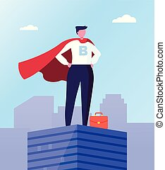 Business Hero, Leader in Superhero Cloak, Roof Top - ...