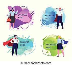 Business Heroes Businessman and Businesswoman