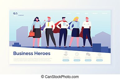 Business Heroes in City, Team of Man and Woman
