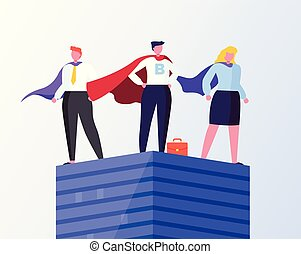 Business Heroes Man and Woman Standing on Top