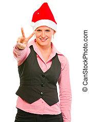 business, heureux, geste, santa, femme, chapeau, projection, commis, victoire