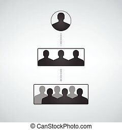 Business hierarchy structure, people Silhouette
