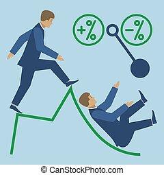 Business high risk vector flat illustration