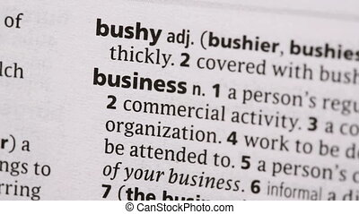 Business highlighted in green in the dictionary