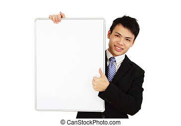 Business holding a blank whiteboard