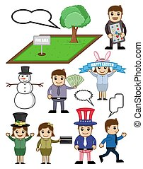 Business Holiday Cartoon Concepts