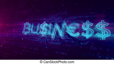 Business hologram concept on digital background. Bitcoin and...