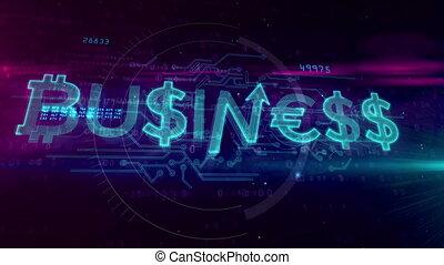 Business hologram concept on digital background. Dollar,...