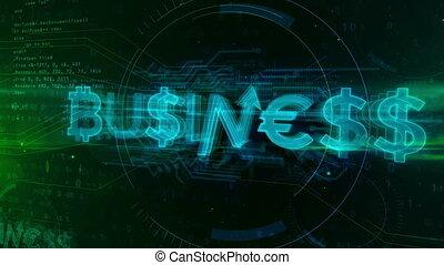 Business hologram concept on digital background. Title built...
