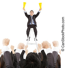business, homme affaires, crier, excité, équipe, reussite