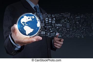 business, homme affaires, stratégie, mondiale, main