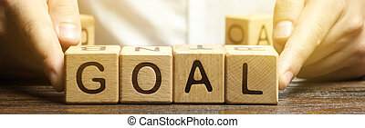 business, homme affaires, target., bois, concept, planification, goals., atteindre, goal., accomplir, plan., met, mot, perseverance., exécution, blocs, heights., nouveau, purposefulness.
