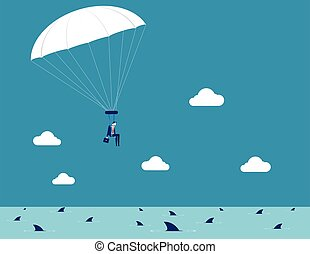 business, homme affaires, vecteur, concept, illustration., parachuting.