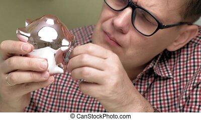 business., homme, rose, banque, pig., porcin, investissements, argent