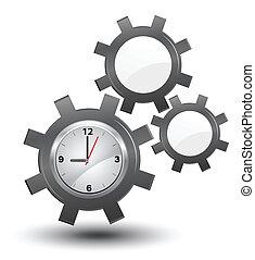 business, horloge, vecteur, temps, roues dentées, gestion