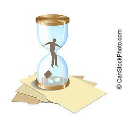 Business-hourglass - Man in Hourglass. Allegory. Digital...