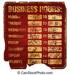 Business Hours sign degraded (with times)