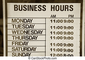 business hours sign for background