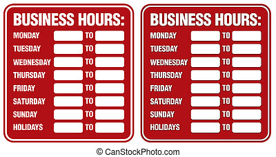 Business Hours sign. Top sign flat style. Bottom sign has ...