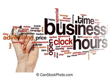 Business hours word cloud