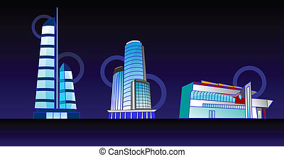 Business houses - Vector drawing of contemporary commercial...