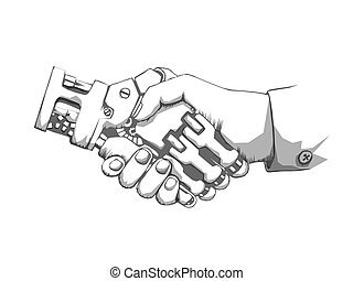 Business human and robot hands shake. Concept future business illustration. Future concept Connection structure. Vector science