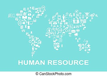 Business Human resource concept - icon with world map