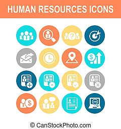 Business Human Resource icon set - Flat Series
