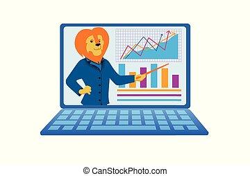 business, humanised, ordinateur portable, lion, conférence, présent