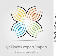 business, icône, importation, fleur, exportation