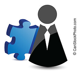 business icon and puzzle piece