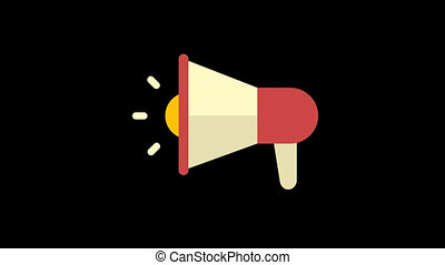 Business icon megaphone. Animation icons. Transparent background. Loop animation. Motion graphics