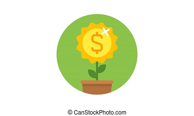 Business icon money flower dollar sign. Animation icons. Transparent background. Loop animation. Motion graphics