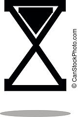 Business icon of hourglass, black and white fill color on white background. Icon for business, management, finance, strategy, marketing.