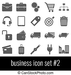 Business. Icon set 2. Gray icons on white background.