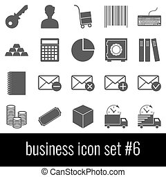Business. Icon set 6. Gray icons on white background.