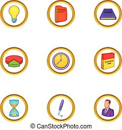 Business icon set, cartoon style