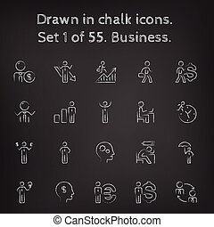 Business icon set drawn in chalk.
