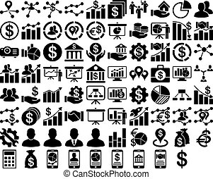 Business Icon Set. These flat icons use black color. Vector...