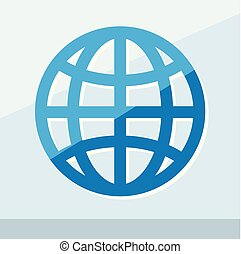 Business icon. Vector illustration isolated on white background. Globe symbol.