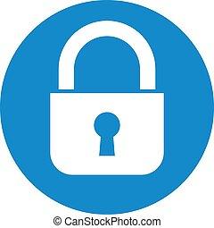Business icon. Vector illustration isolated on white background. Lock symbol.