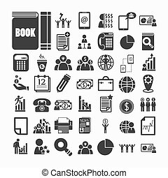 Business icons and Finance icons  on  White paper .Illustration