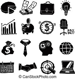 Business Icons Black And White Set