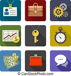 Business. Set of flat long shadow icons. Eps10 vector illustration. Isolated on white background