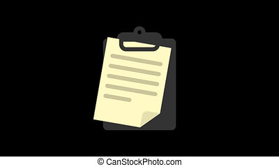 Business icons document. Animation icons. Transparent background. Loop animation. Motion graphics