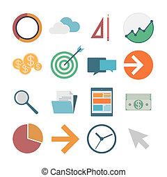 business icons, flat design, vector illustration