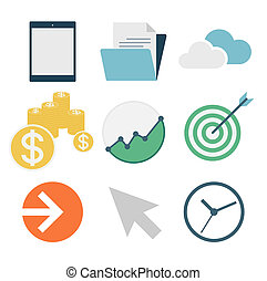 business icons, flat design, vector illustration